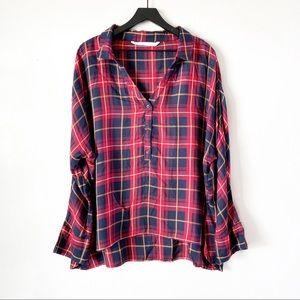 Zara | Red Plaid Long Sleeve Top Plus Size XXL